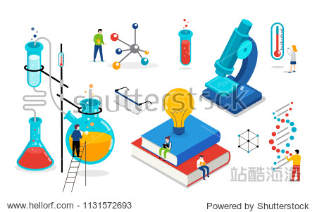 Chemistry lab and school class  science  education scene with miniature people  students. Isometric  vector concept design