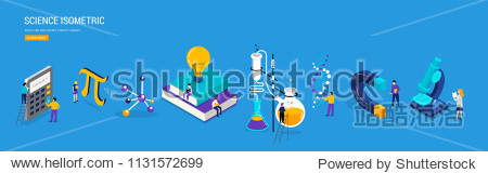 Science lab and school class. Education  mathematics  chemistry scene with miniature people  students. Isometric concept