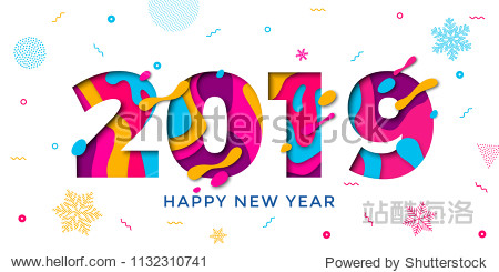 Happy New Year 2019 greeting card with paper cut snowflakes. Vector confetti decoration pattern of color multilayer numbers for Christmas holiday celebration background