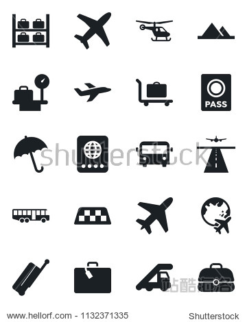 Set of vector isolated black icon - plane vector  runway  taxi  suitcase  baggage trolley  airport bus  umbrella  passport  ladder car  helicopter  luggage storage  scales  globe  mountains  case