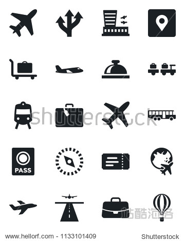 Set of vector isolated black icon - plane vector  runway  suitcase  baggage trolley  airport bus  train  ticket  reception bell  passport  larry  globe  building  case  route  place tag  compass