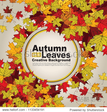 autumn leaves creative background. vector illustration