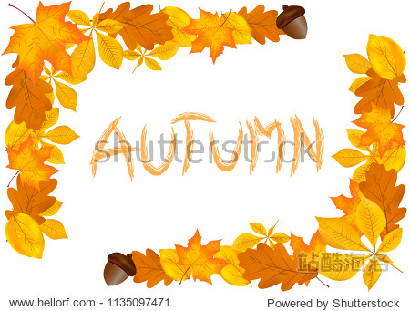 Yellow golden leaves and inscription Autumn  autumn frame of carefully drawn leaves