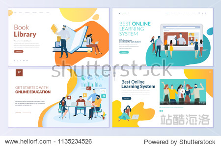 Set of web page design templates for book library  online learning  education. Modern vector illustration concepts for website and mobile website development.