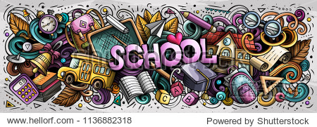 Cartoon cute doodles Back to School word. Colorful horizontal illustration. Background with lots of separate objects. Funny vector artwork