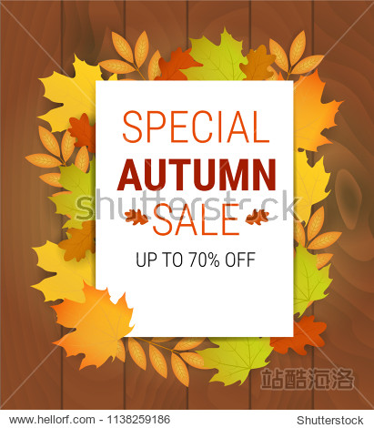 Special autumn sale banner. Vector illustration with autumn leaves. Poster with fall