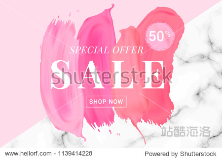 Vector sale banner with text on lipstick stokes background. Good for salons  beauty shops.