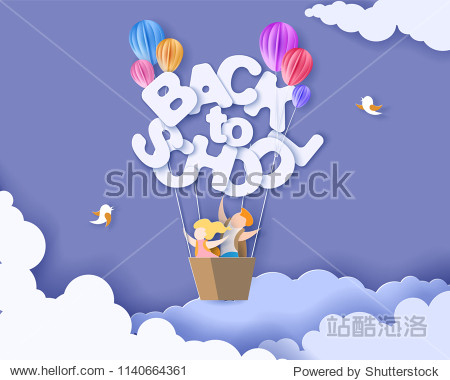 Back to school 1 september card with kids  leaves and sun shaped air balloon on blue sky background. Vector illustration. Paper cut and craft style.