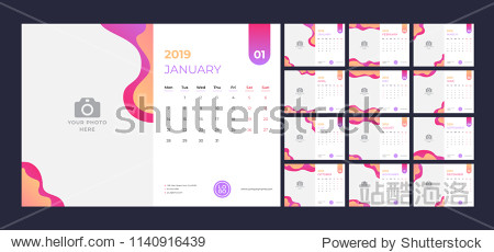 Calendar design for 2019. Simple red and orange background. Week starts on Monday. Set of 12 calendar pages vector design print template with place for photo.