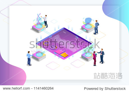 Isometric Big Data Network visualization  advanced analytics  interacting Data analysis  research  audit  demographics  Artificial Intelligence  planning  statistics  digital DNA structure  management