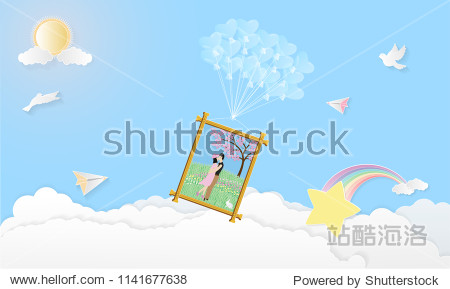 Vector illustration abstract background with Boy Girl Birds Sun Hearts Rainbow Star Plane and Balloons.Paper art concept.
