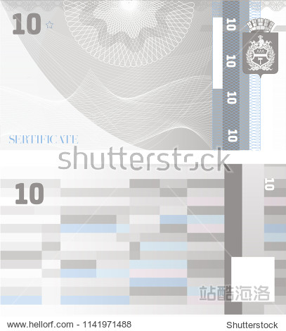 Gift certificate banknote Voucher template 10 with guilloche pattern watermarks and border. Background usable for coupon  banknote  money design  currency  note  check etc. Vector in grey color