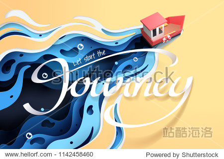 Paper art of red boat and the sea  origami and travel concept  vector art and illustration.