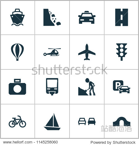 Transport icons set with falling rock  airplane  taxi and other chopper elements. Isolated  illustration transport icons.