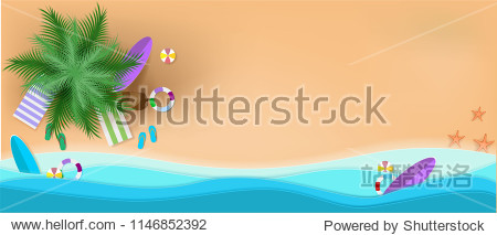 summer  beach  background  vector  paper  art  sea  illustration  cut  pastel  top  concept  view  origami  sand  vacation  design  craft  element  umbrella  relax  sun  surfboard  style  travel  grap