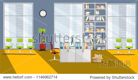 flat vector illustration of modern cabinet interior with 1 table and 3 large windows in skyscraper in orange-gray colors. Open space with palm tree  shelving for folders  sun ight  chairs for visitors