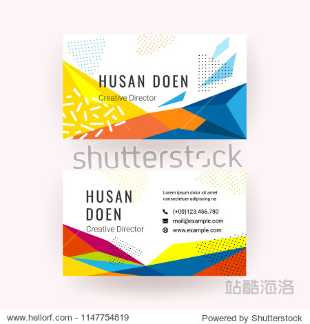 Modern business card with geometric shape and Memphis style texture vector illustrations