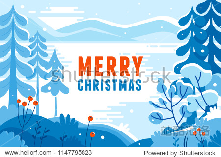 Vector illustration in trendy flat  style - background with copy space for text - winter landscape - background for banner  greeting card  poster and advertising- happy new year and Christmas holidays