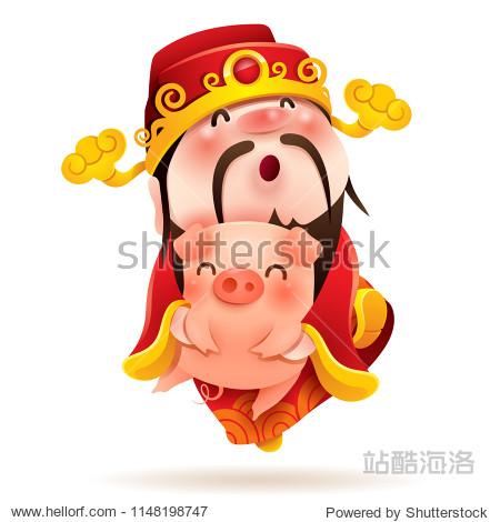 Chinese God of Wealth and Piggy. Chinese New Year. The year of the pig.