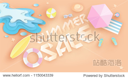 Illustration of Summer sale banner design in top view beach background and decoration. Aerial view of summer beachside and summer sale text. paper cut and craft style. vector  illustration.