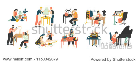 Collection of people enjoying their hobbies - home gardening  culinary  sewing  drawing  paper collage making  floristics  writing  piano playing. Colorful vector illustration in flat cartoon style.