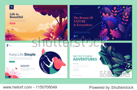Set of web page design templates for beauty  spa  wellness  natural products  cosmetics  body care. Modern vector illustration concepts for website and mobile website development.