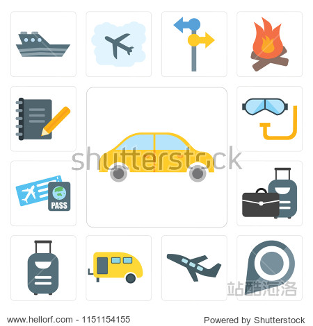 Set Of 13 simple editable icons such as Car  Pin  Airplane  Caravan  Suitcase  Boarding pass  Snorkel  Diary  web ui icon pack
