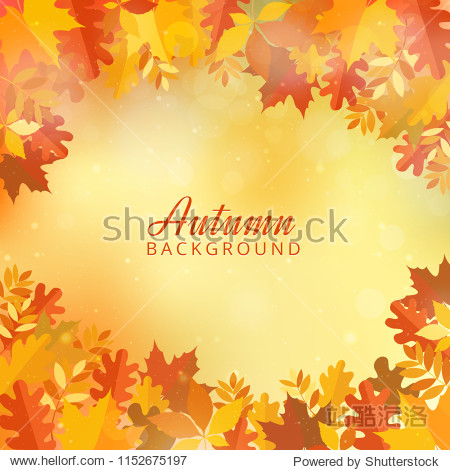 Bokeh autumn background with leaves