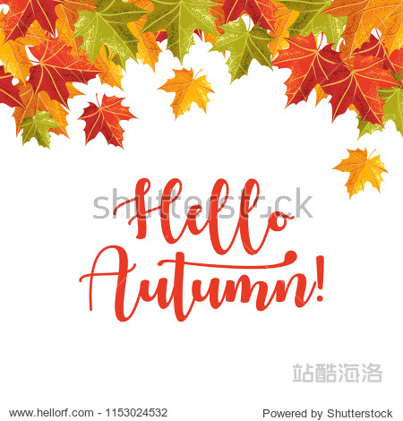 Hello Autumn banner with grain shadow style for autumn season. Can use for editorial  sticker  icon  and promotional