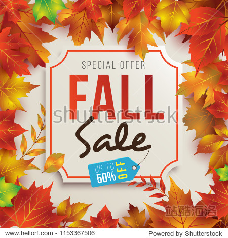 Fall Sale Poster Template/Background with Realistic Leaves