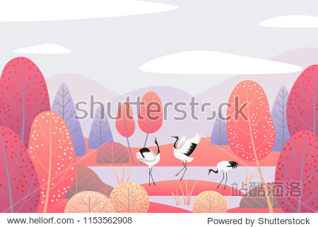 Nature background with wetland landscape  and dancing Japanese cranes. Autumn scene  with mountains  clouds   red trees and birds.  Vector flat naive illustration.