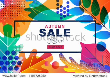 Vector sale banners with color gradients autumn leaves. Fall illustration background. Design template for poster  discount labels  flyers.