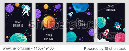 set of banner templates. science. universe. space. space trip. design. vector illustration