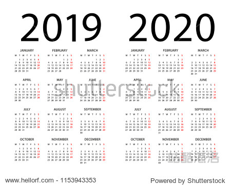 Calendar 2019 2020 year - vector illustration. Week starts on Monday