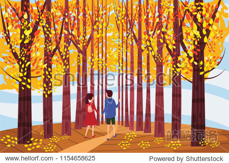 Autumn alley  guy and girl characters walking along the path in the park  fall  autumn leaves  mood  color  vector  illustration  cartoon style  isolated