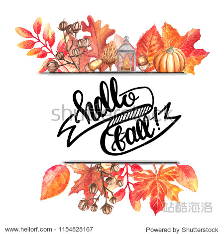 The Aquarelle sheet for background  texture  wrapper  border.  watercolor wreath with colored leaves and hand lettering on a white background. Illustration for design banners  leaflets  posters  cards