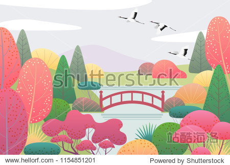 Nature background with japanese garden and flying cranes. Autumn scene with simple red  yellow  green plants  trees  mountain  bridge  clouds and birds.  Vector flat illustration.