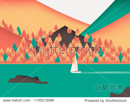 Autumn scenery landscape  sail boat sailing in the sea with colorful mountains in background