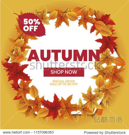 Autumn sale text typography poster for shopping promo vector illustration