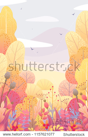Rectancle vertical nature background with trees  colorful leaves  dried grass and berries. Floral border with simple plants above autumn landscape. Vector flat fall foliage decoration.