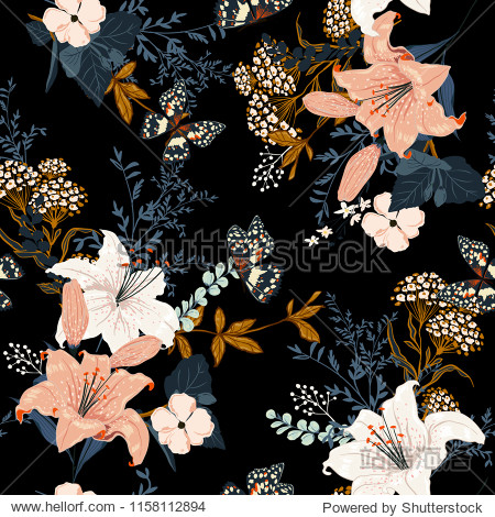Dark romantic garden flowers in the night  Full of  blooming lilly and many kind of flowers seamless pattern design for fashion fabric  wallpaper and all prints on black background color.