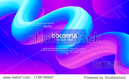 Abstract Wave Liquid Shape. Colorful 3d Flow Design. Trendy Vibrant Gradient for Presentation  Wave Poster  Brochure. Modern Vector Illustration. Bright Wave Template with Futuristic Fluid Elements.