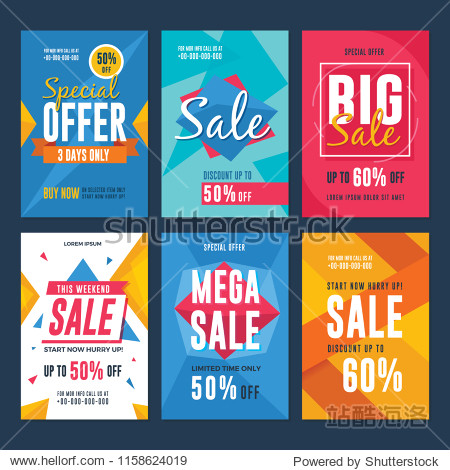 Collection of sale and discount flyers. Vector illustration for social media banners  flyer  poster and newsletter designs