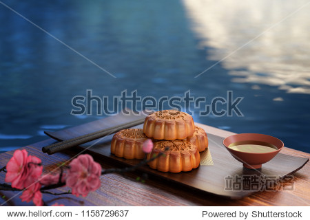 Moon cake on the red background Asian traditional festival  Mid-Autumn festival.Chinese traditional festival.3d rendering.