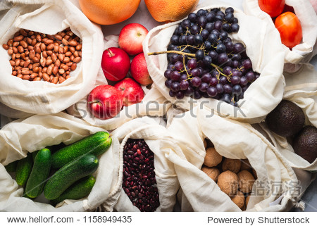 Fresh grocery products in reusable cotton bags  top view