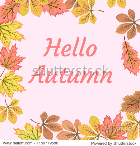 Hello autumn card with fall leaf  background.