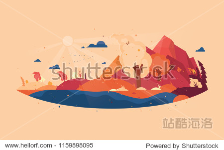Panoramic of wild landscape in autumn. Background with autumn landscape mountains  house and trees with flying yellow foliage. Windy weather. Vector illustration.
