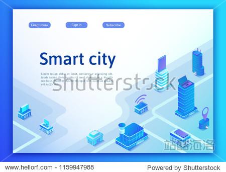 Smart city isometric city concept  online transportation service