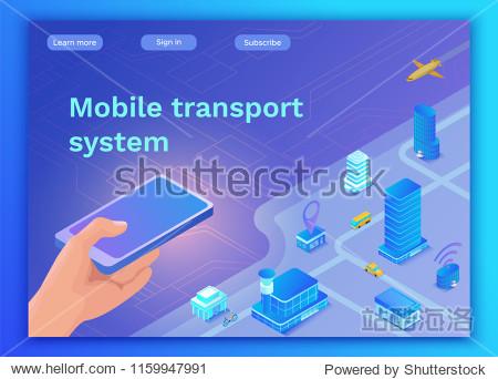 Mobile transportation online service landing page template  trav