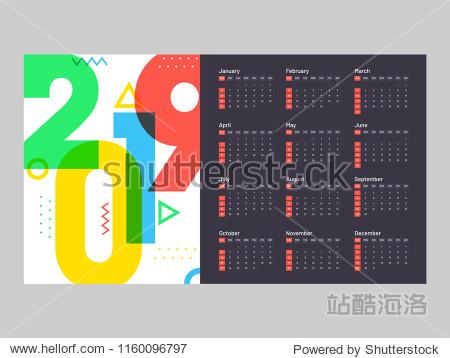Year 2019  Calendar Design.